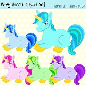 Baby Unicorn Clip Art Set