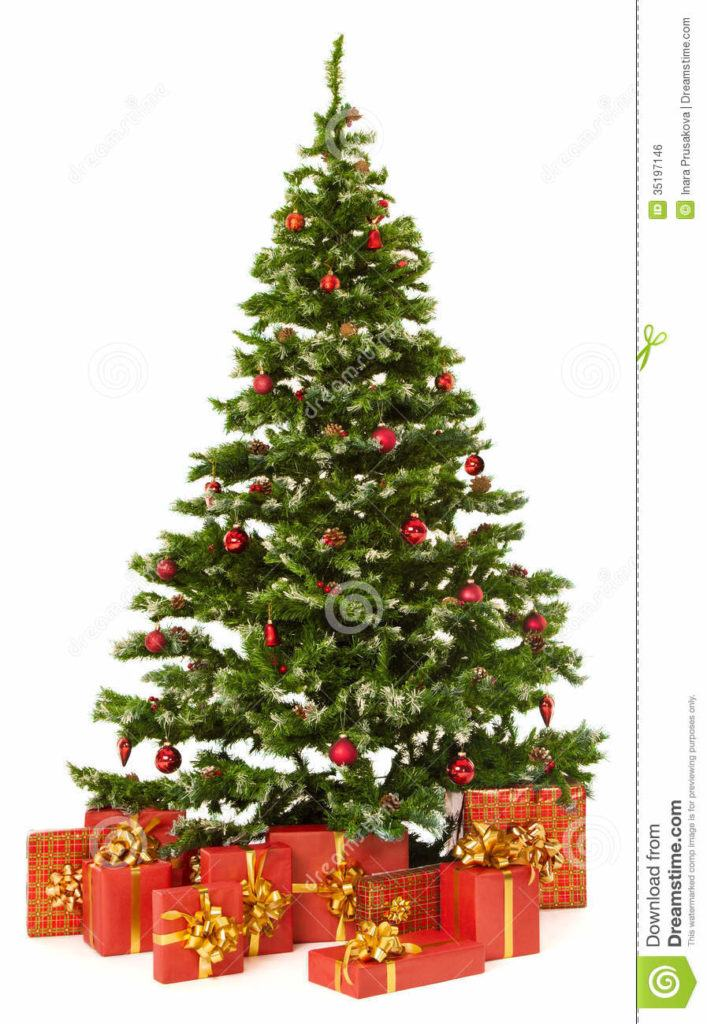Christmas Fir Tree Presents Gifts Box Over White Background Red