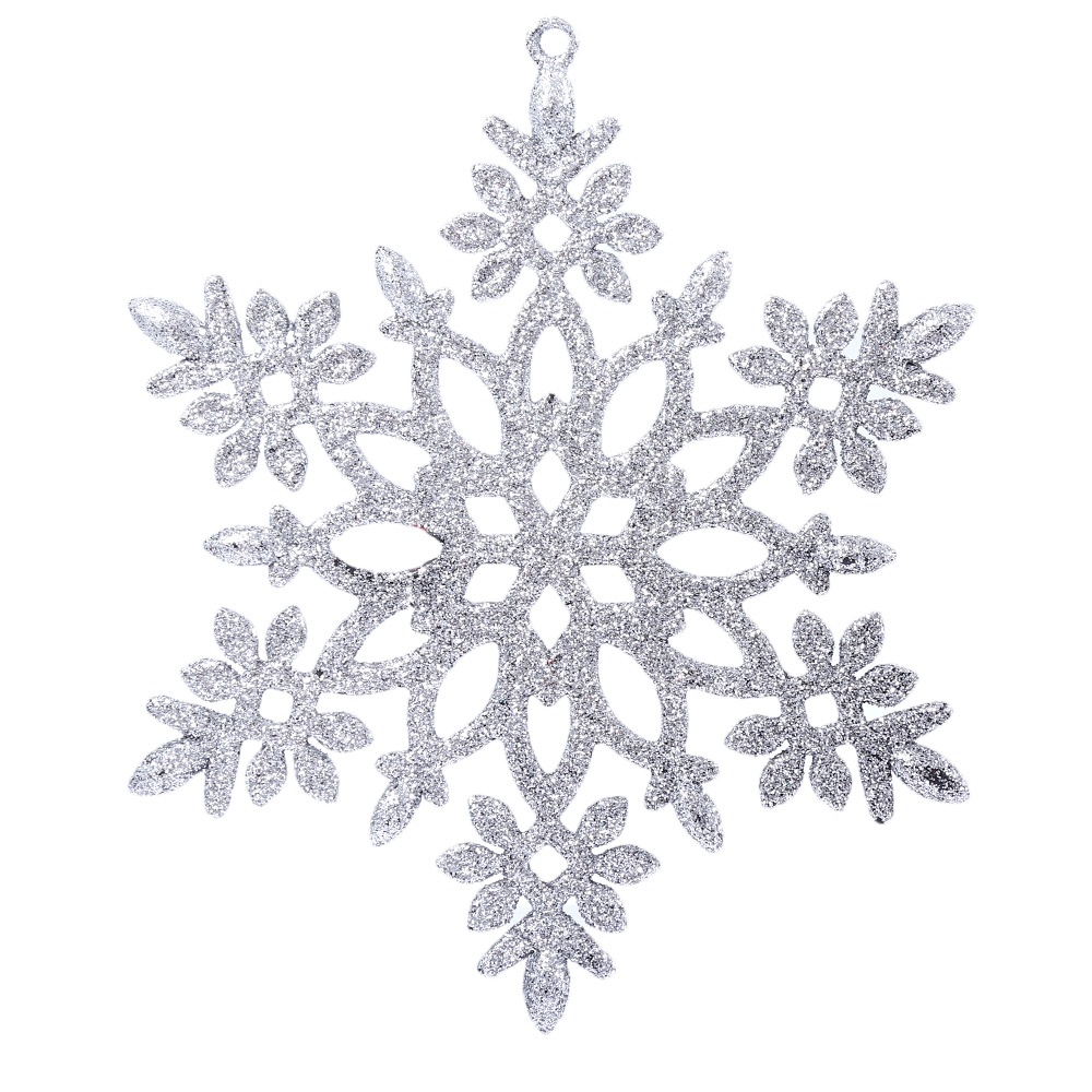 Christmas Glitter Snowflake Hanging Decorating Ornaments Silver