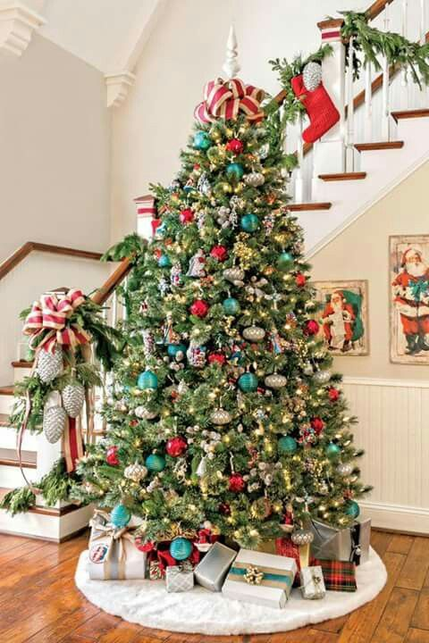 Christmas Tree Beside The Stair