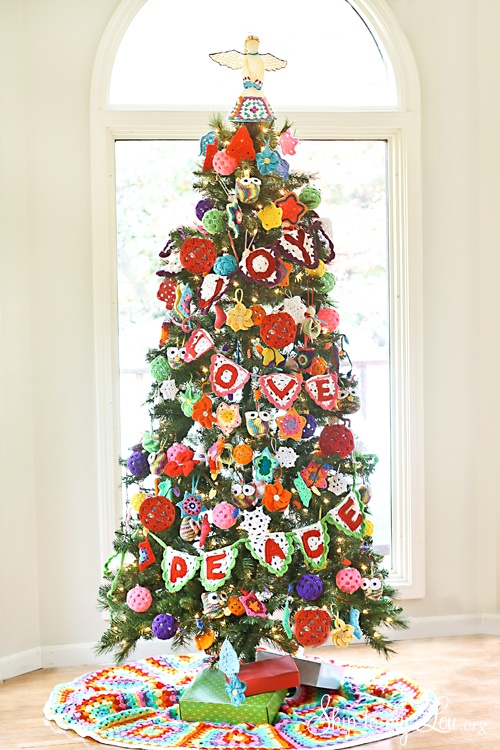 Crochet Ornament Decorated Christmas Tree