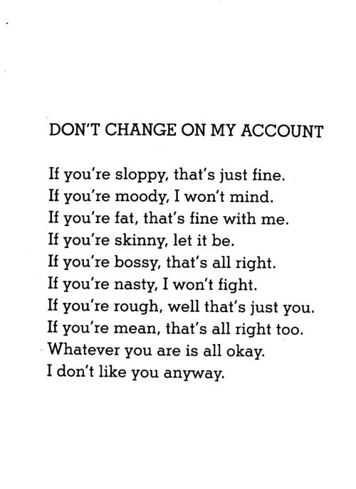 Don't change on my Account