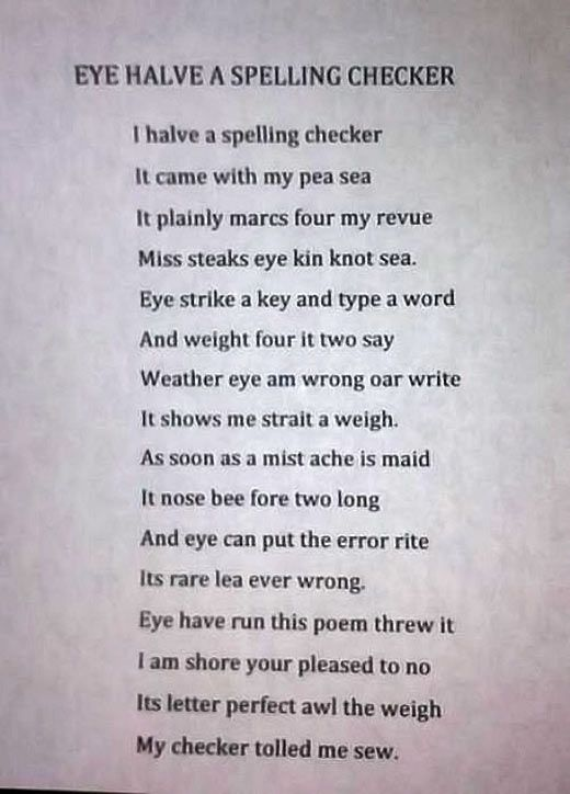 Eye Halve A Spelling Checker