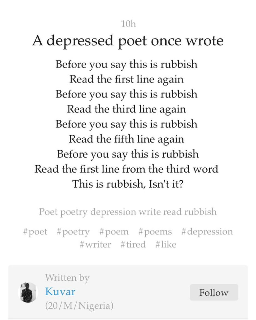 From a Depressed Poet