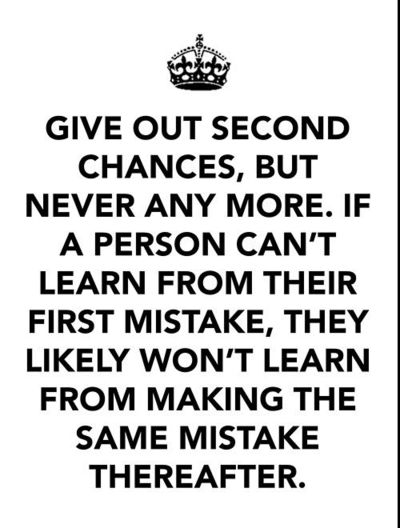 Give Out Second Chances