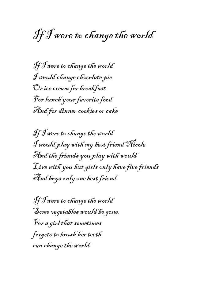 If I Were to Change the World