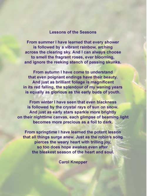Lessons of the Seasons
