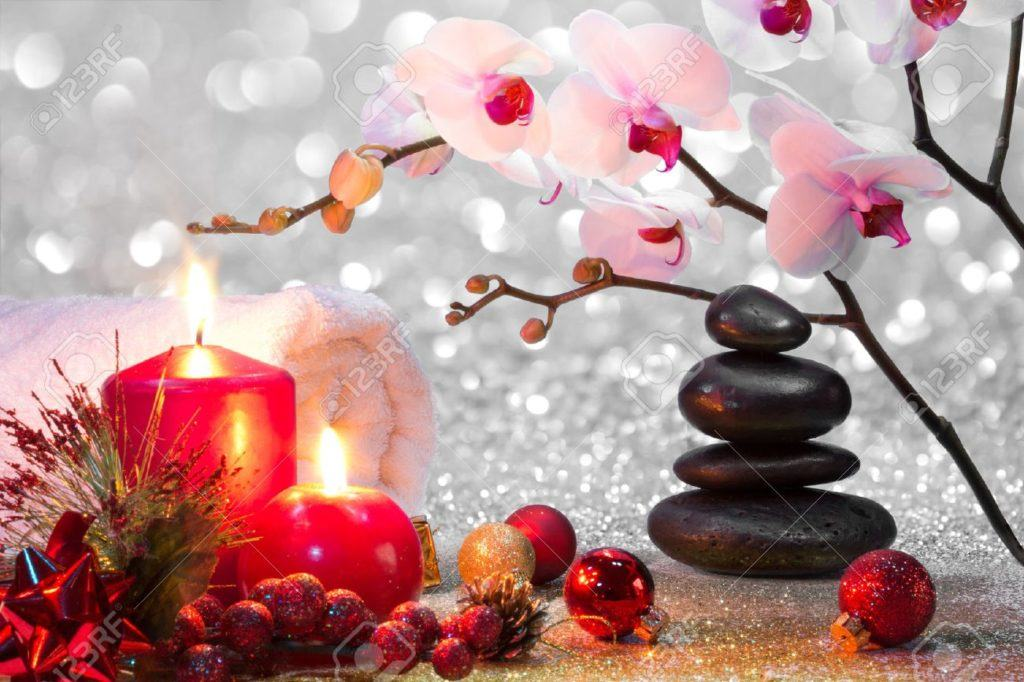 Massage Composition Christmas Spa With Candles Orchid Stones