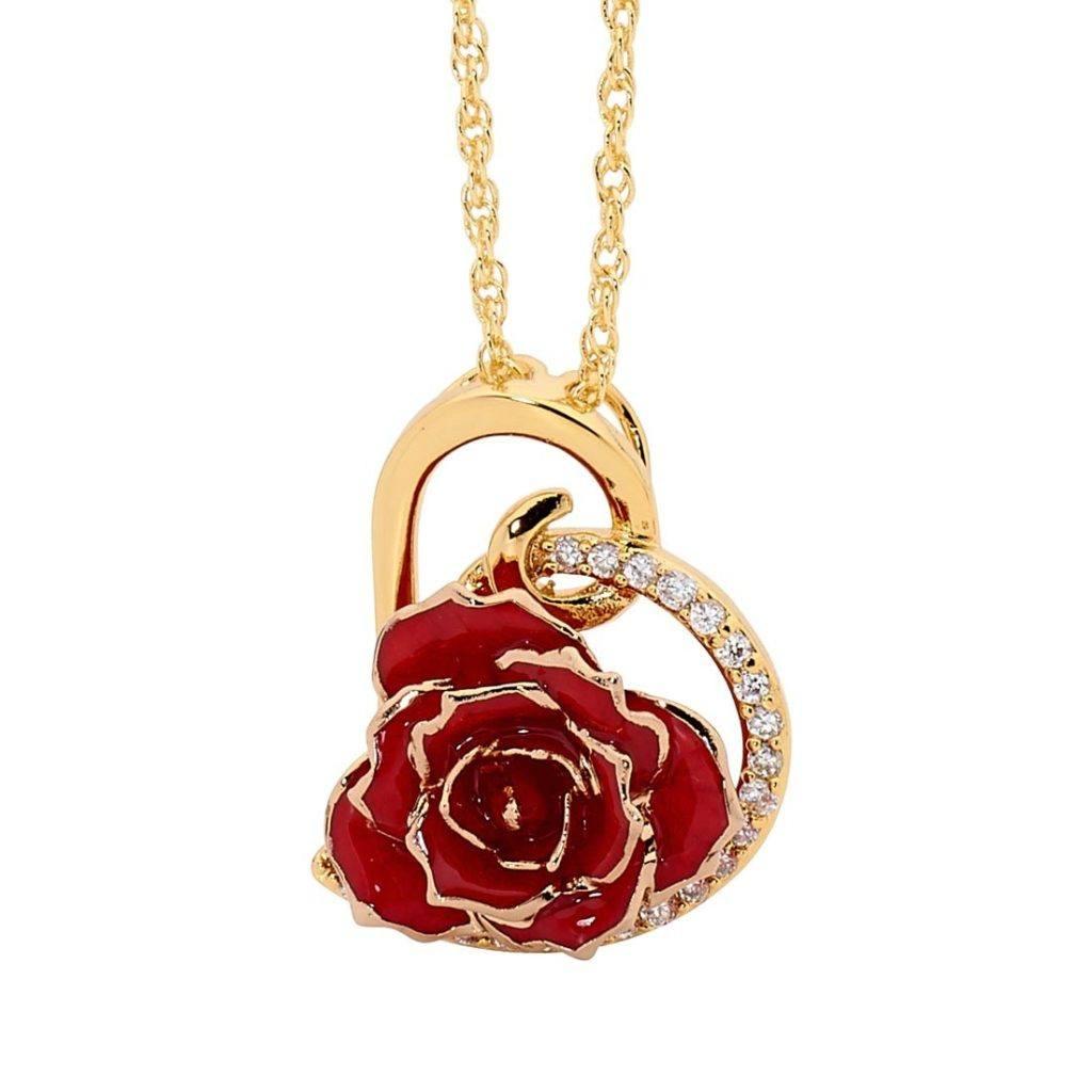 Red Glazed Rose Heart Pendant