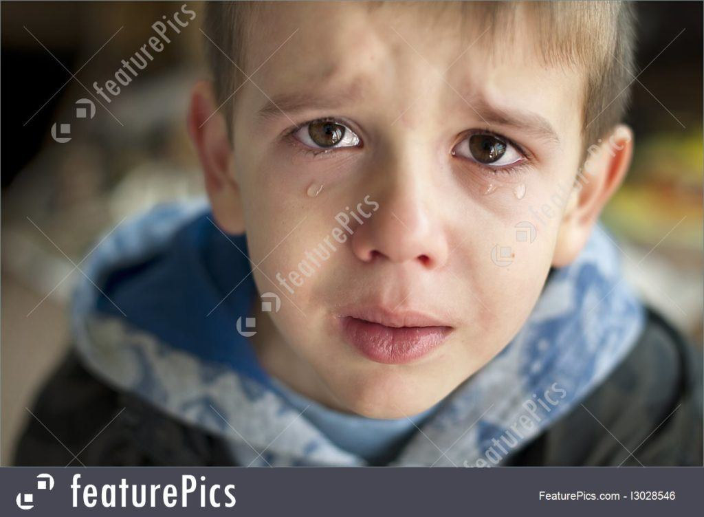 Sad Child Crying Stock Photo