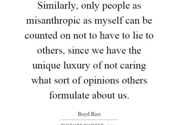 Similarly Only People As Misanthropic