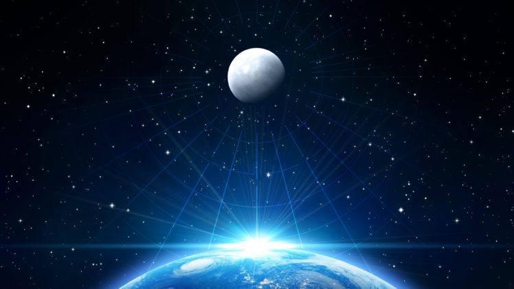 Space Moon Earth Stars