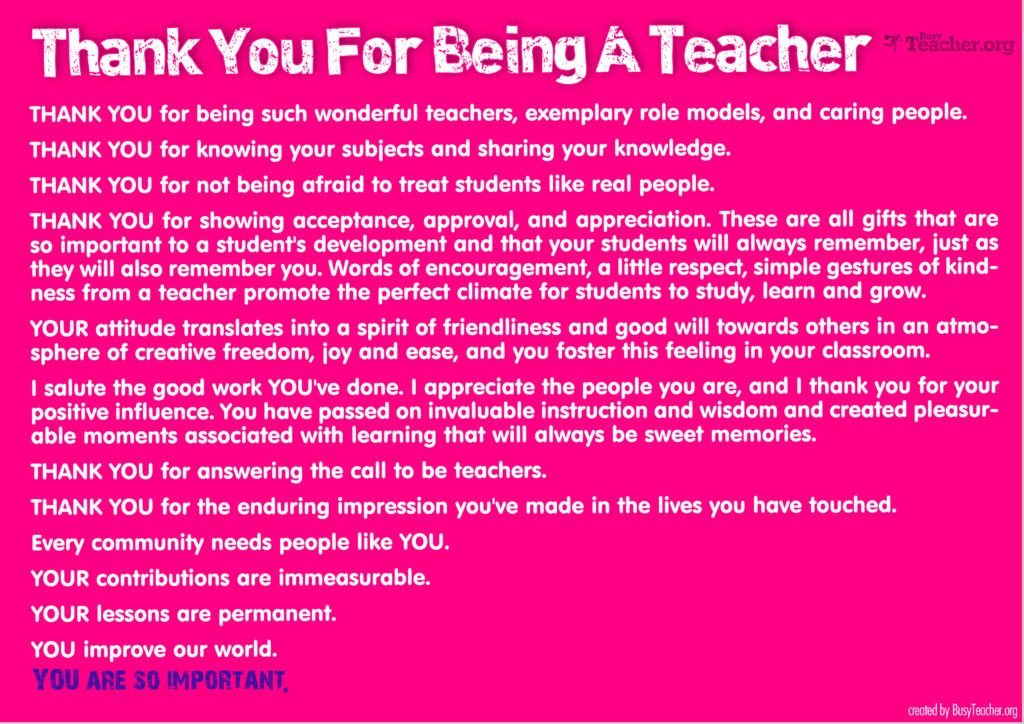 Thank You For Being A Teacher
