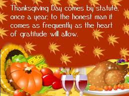 Thanksgiving Day Comes By Statute