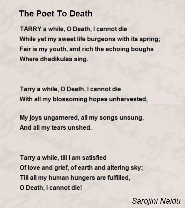 The Poet To Death