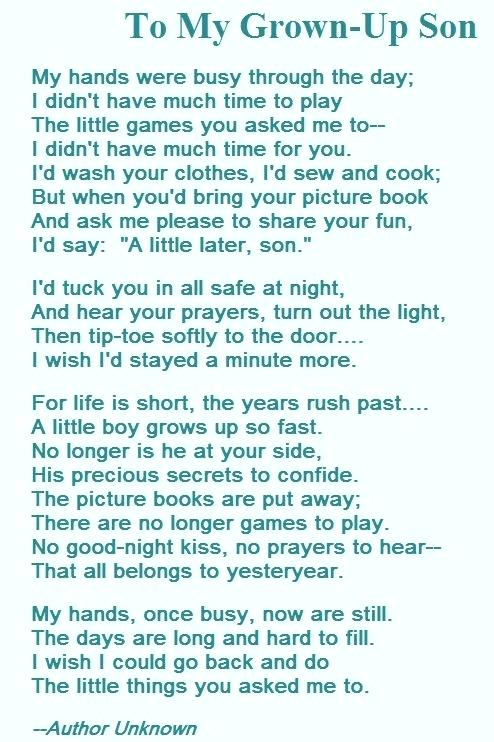 To My Grown Up Son