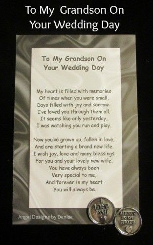 To my Grandson on your Wedding Day