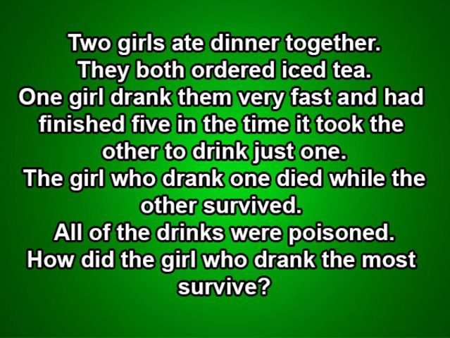 Two Girls Ate Dinner Together