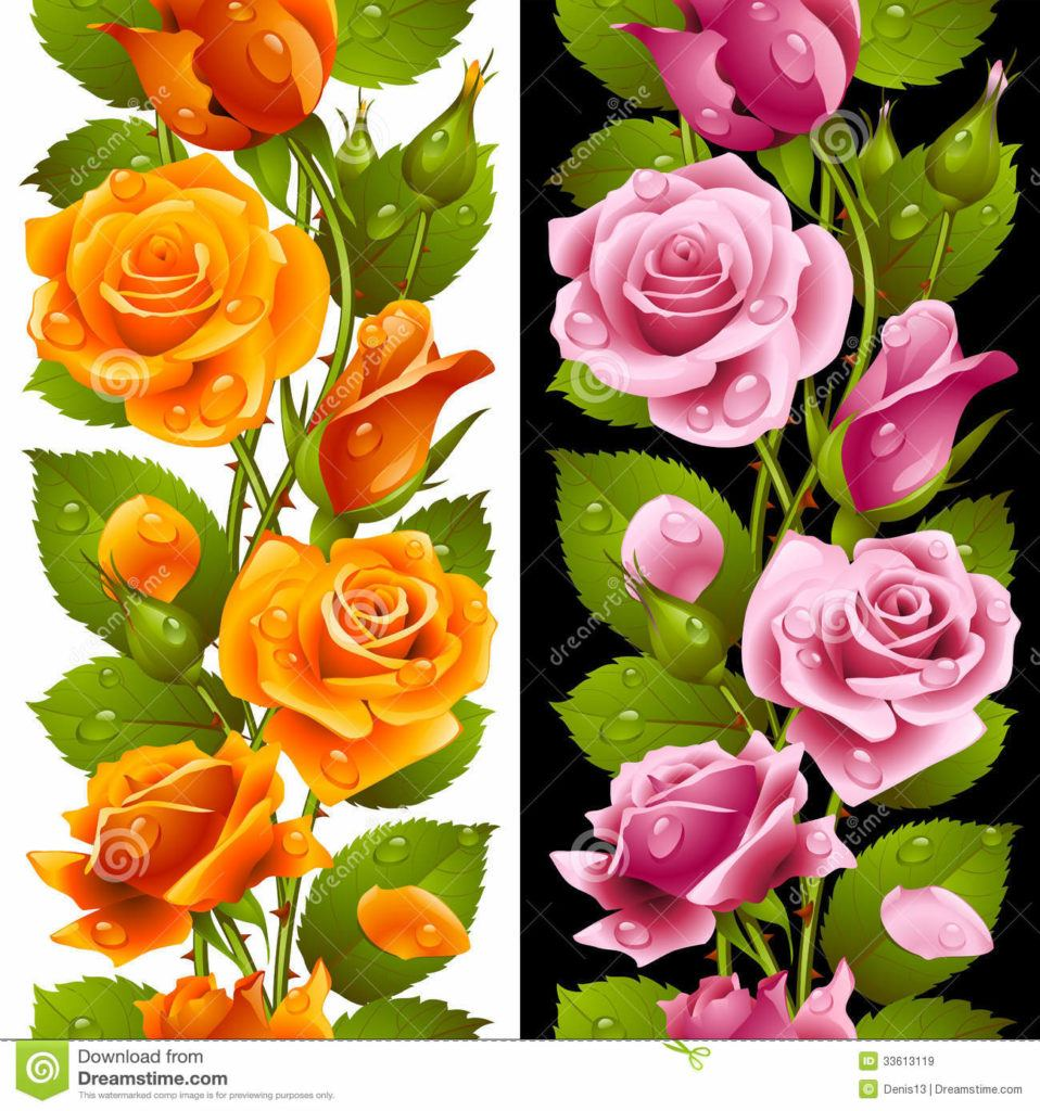Vector Yellow Pink Rose Vertical Seamless Pattern Isolated Background