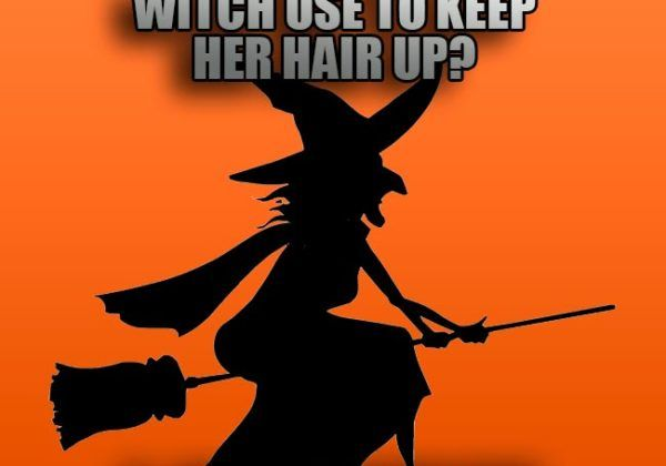 What does witch use to keep her hair up
