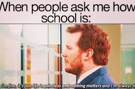 When people ask me how school is:…